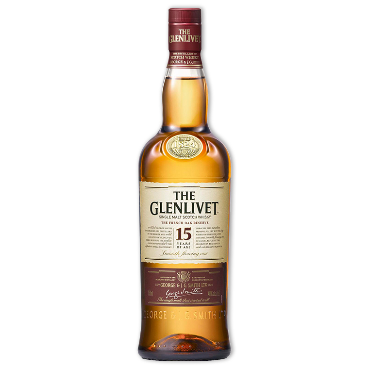 Whisky,Glenlivet 15 Years Single Malt Scotch Whisky 格蘭利威15年單一純麥威士忌,700mL