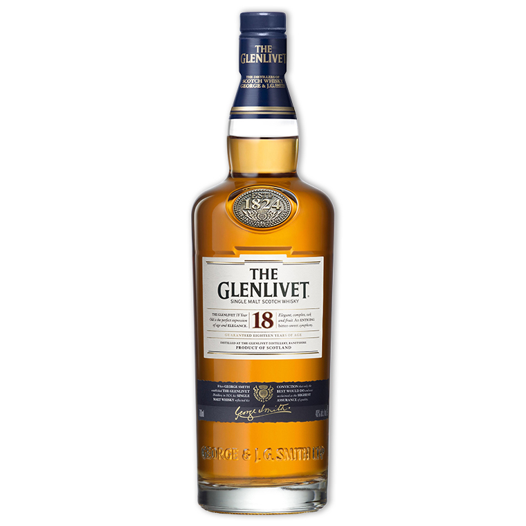 Whisky,Glenlivet 18 Years Single Malt Scotch Whisky 格蘭利威18年單一純麥威士忌,700mL