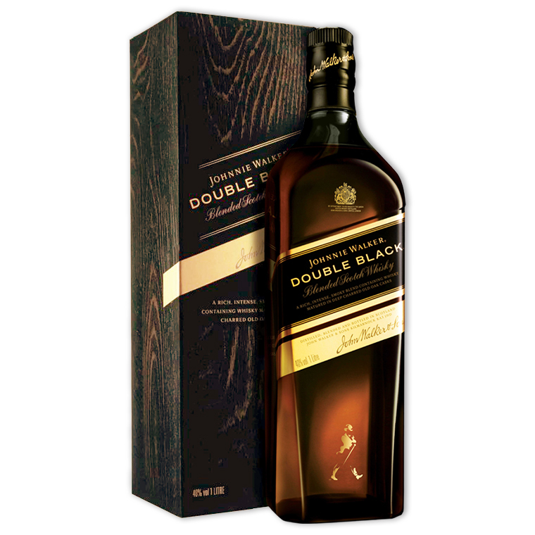 Whisky,Johnnie Walker Double Black Blended Scotch Whisky 約翰走路黑牌醇黑限定版調和威士忌,1000mL
