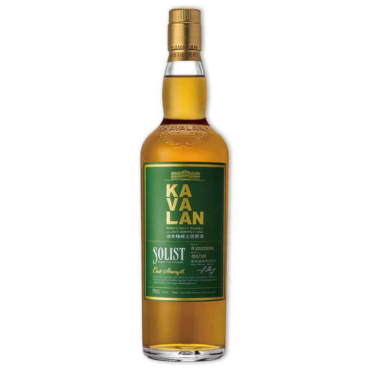 Whisky,Kavalan Solist ex-Bourbon Single Cask Strength Single Malt Whisky 噶瑪蘭經典獨奏波本桶原酒單一純麥威士忌,700mL