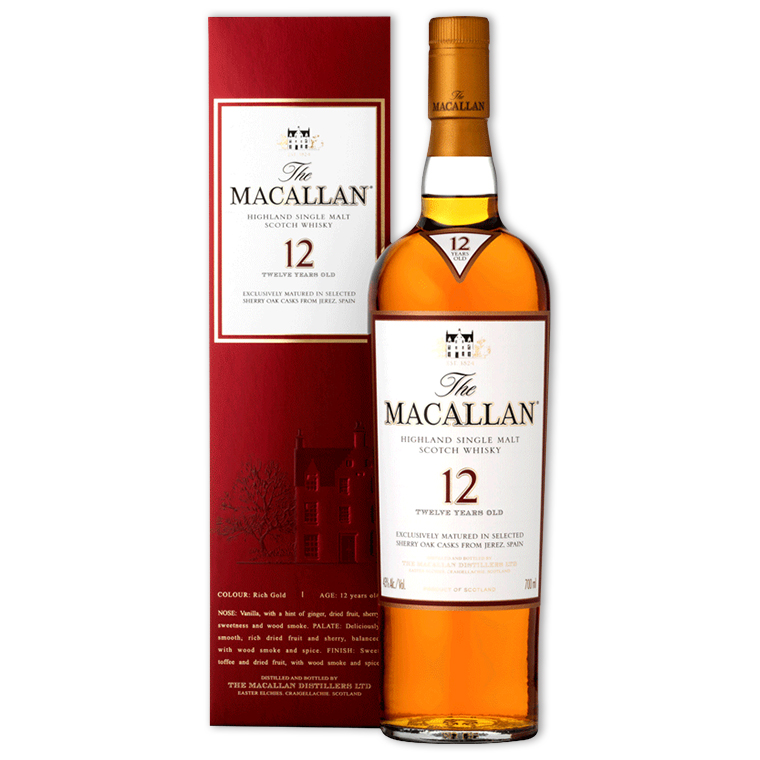 Whisky,Macallan 12 Years Sherry Oak Single Malt Scotch Whisky 麥卡倫12年雪莉桶單一純麥威士忌,700mL