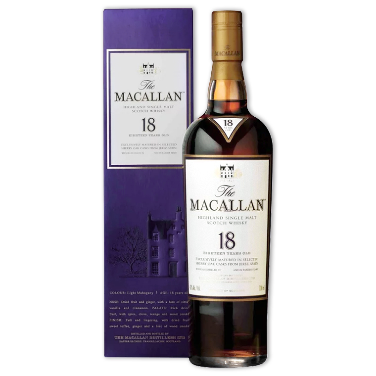 Whisky,Macallan Sherry Oak 18 Years Single Malt Scotch Whisky 麥卡倫18年雪莉桶單一純麥威士忌,700mL