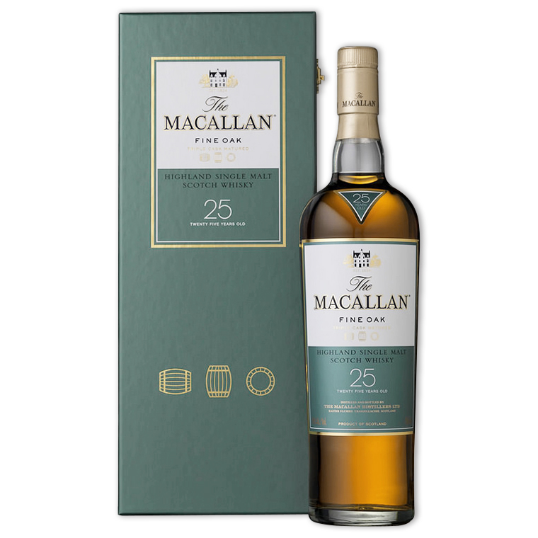 Whisky,Macallan Fine Oak 25 Years Single Malt Scotch Whisky 麥卡倫黃金三桶25年單一純麥威士忌,700mL