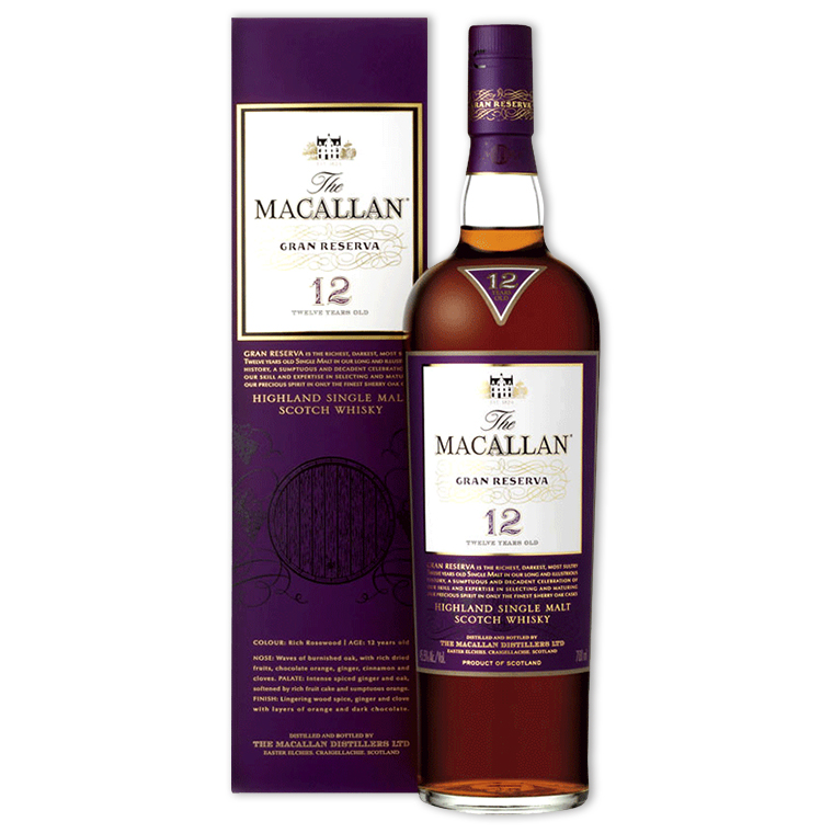 Whisky,Macallan Grand Reserva 12 Years Single Malt Scotch Whisky 麥卡倫紫鑽12年單一純麥威士忌,700mL